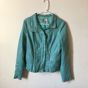 Kut From The Kloth Turquoise Leather Jacket